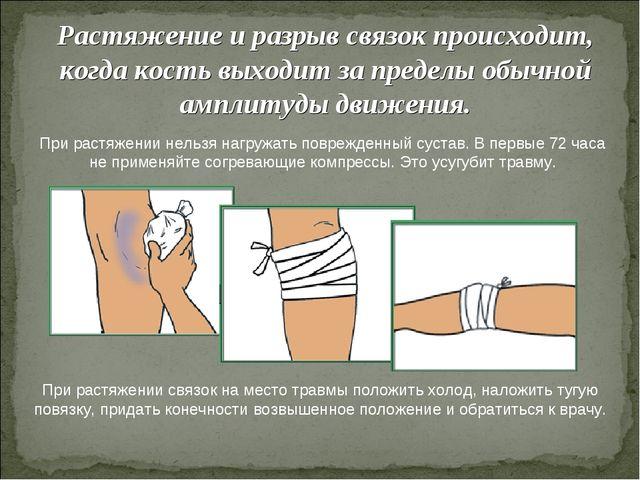 Растяжение и разрыв связок происходит, когда кость выходит за пределы обычной...
