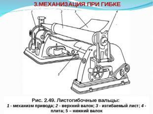 3.МЕХАНИЗАЦИЯ ПРИ ГИБКЕ Рис. 2.49. Листогибочные вальцы: 1 - механизм привода