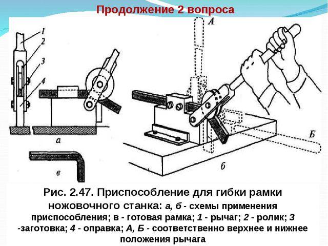 Продолжение 2 вопроса Рис. 2.47. Приспособление для гибки рамки ножовочного с...