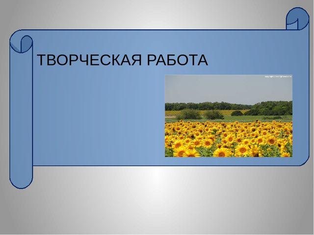 ТВОРЧЕСКАЯ РАБОТА