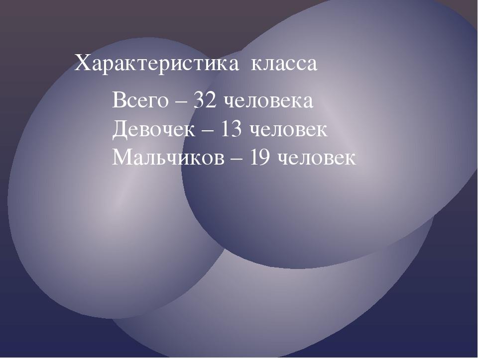 Характеристика класса Всего – 32 человека Девочек – 13 человек Мальчиков – 19...