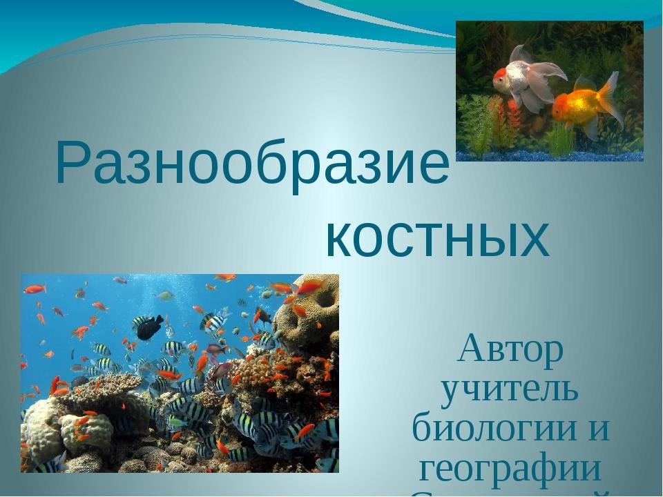 Разнообразие костных рыб Автор учитель биологии и географии Славянской оош I-...