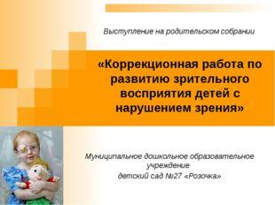 «Коррекционная работа по развитию зрительного восприятия детей с нарушением з