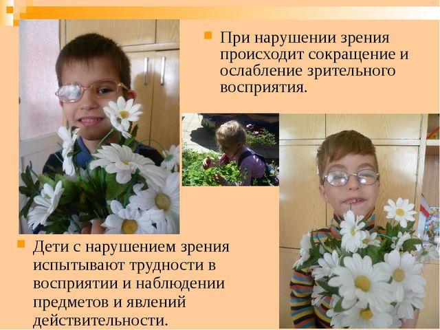 Дети с нарушением зрения испытывают трудности в восприятии и наблюдении предм...