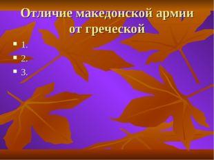 Отличие македонской армии от греческой 1. 2. 3.