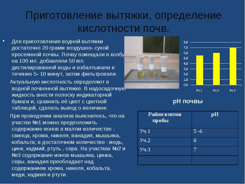 Приготовление вытяжки, определение кислотности почв. Для приготовления водной...