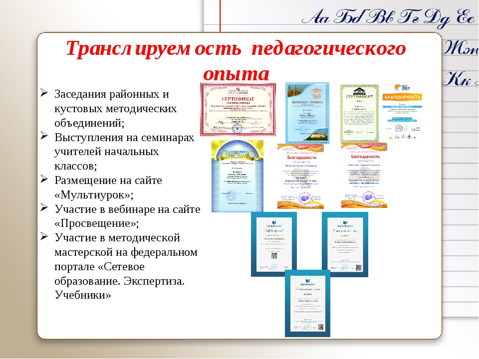 Транслируемость педагогического опыта Заседания районных и кустовых методичес...