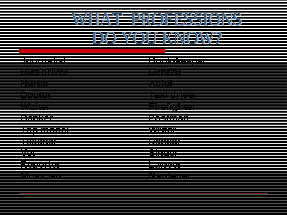 Journalist Bus driver Nurse Doctor Waiter Banker Top model Teacher Vet Report...