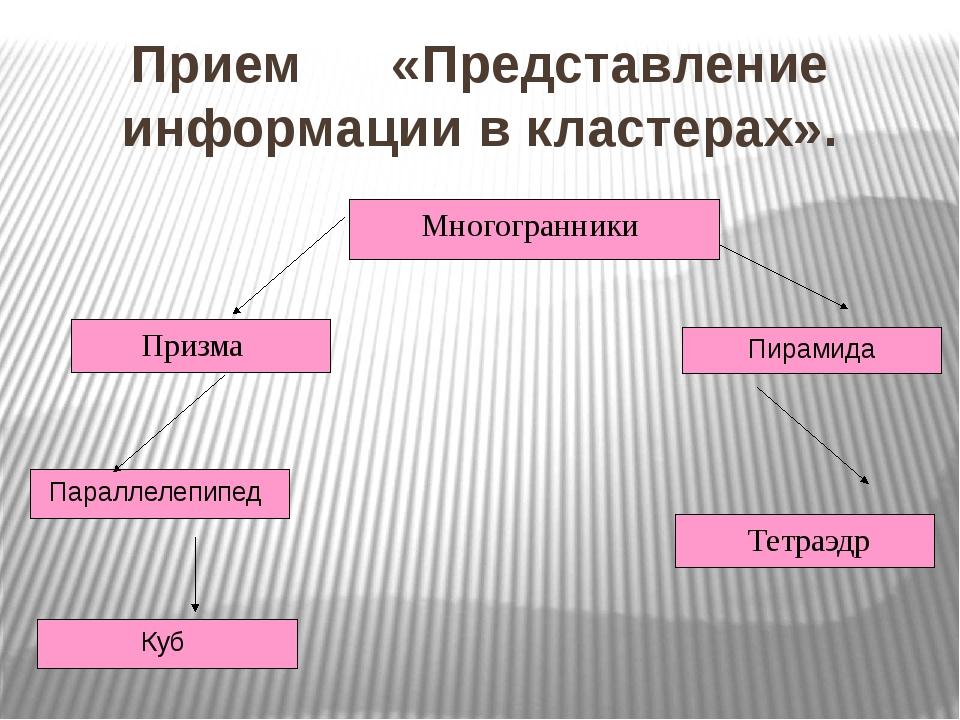 Прием «Представление информации в кластерах». Многогранники Призма Параллелеп...
