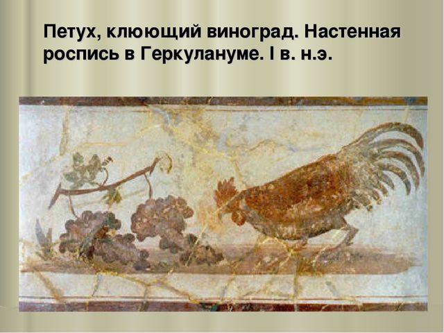 Петух, клюющий виноград. Настенная роспись в Геркулануме. I в. н.э.