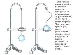 Если медный шарик, который в не нагретом состоянии проходит через кольцо, на