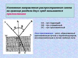 Изменение направления распространения света на границе раздела двух сред наз