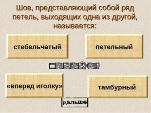 Шов, представляющий собой ряд петель, выходящих одна из другой, называется: т