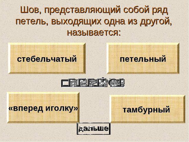 Шов, представляющий собой ряд петель, выходящих одна из другой, называется: т...