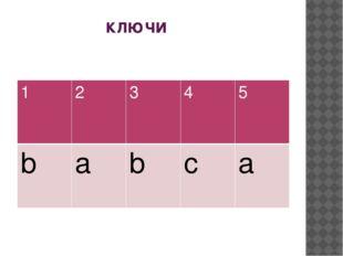 ключи 1 2 3 4 5 b a b c a