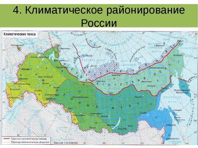 4. Климатическое районирование России