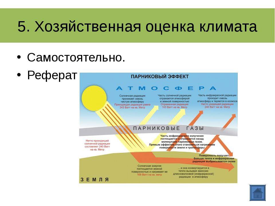 5. Хозяйственная оценка климата Самостоятельно. Реферат