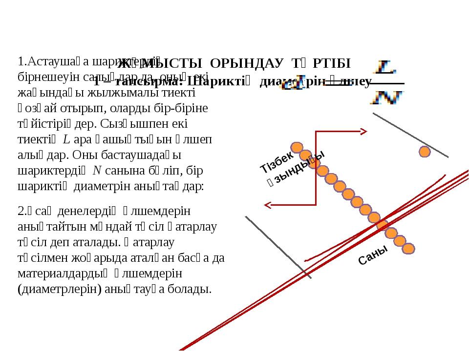 ЖҰМЫСТЫ ОРЫНДАУ ТӘРТІБІ 1 – тапсырма: Шариктің диаметрін өлшеу 1.Астаушаға...