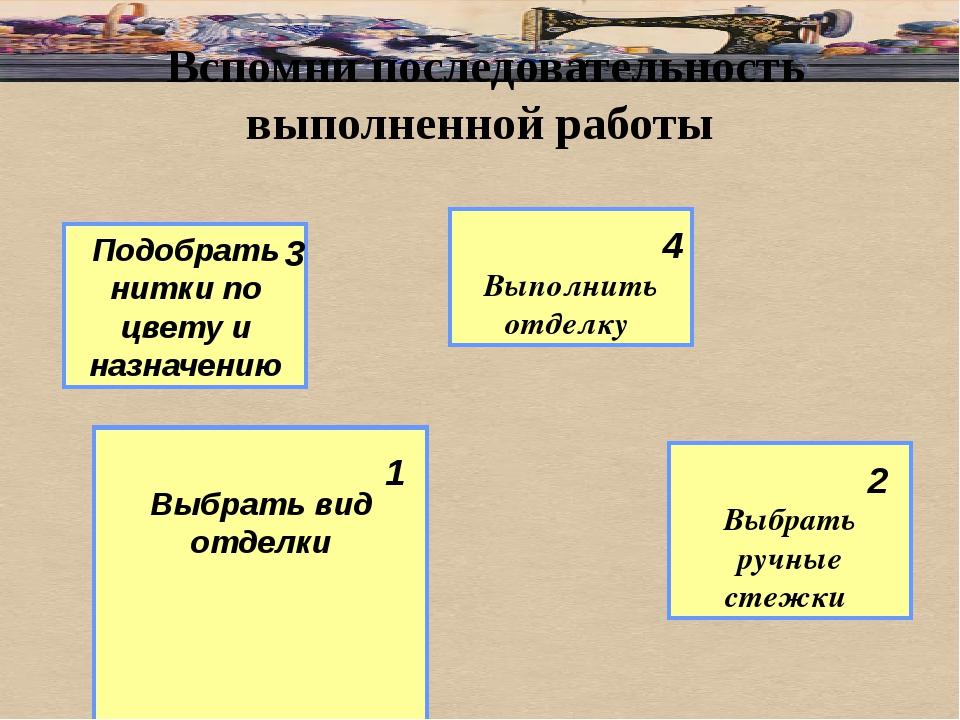 Вспомни последовательность выполненной работы Выбрать вид отделки Выполнить...