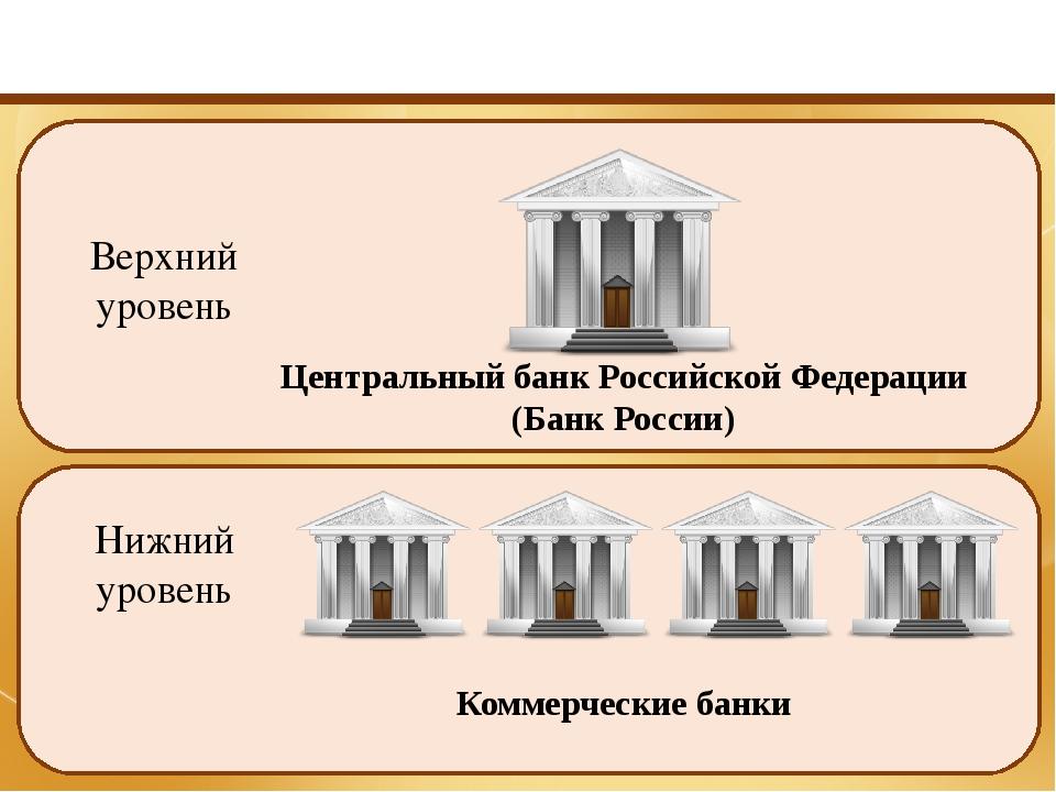 Уровни банковской системы России Верхний уровень Нижний уровень Центральный...