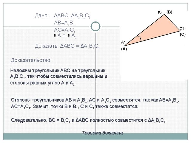 Дано: ∆ABC, ∆A1B1C1 AB=A1B1 AC=A1C1  A = A1 Доказать: ∆ABC = ∆A1B1C1 Дока...