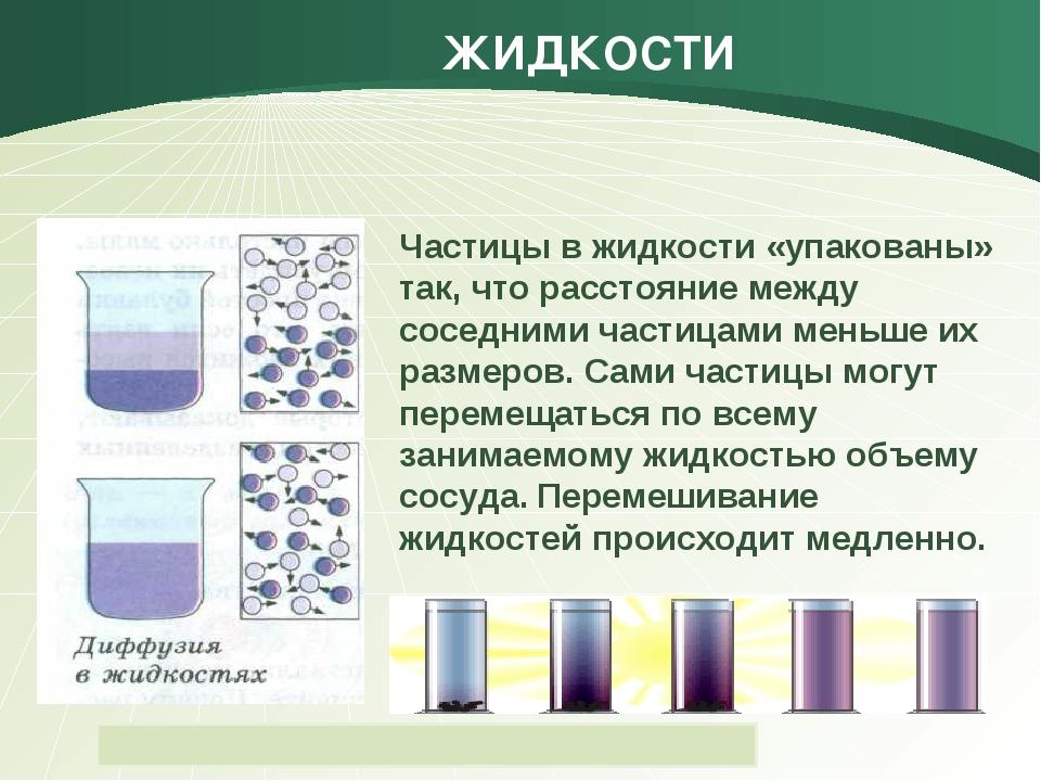 ЖИДКОСТИ Частицы в жидкости «упакованы» так, что расстояние между соседними ч...