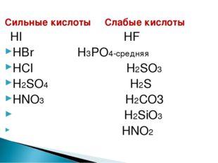 Сильные кислоты Слабые кислоты HI HF HBr H3PO4-средняя HCl H2SO3 H2SO4 H2S HN