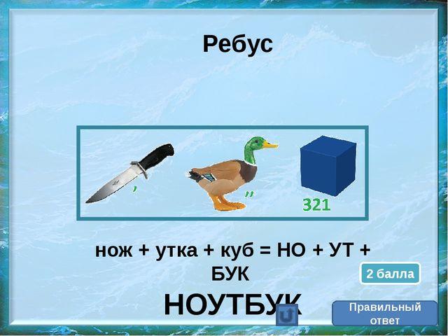 Правильный ответ Ребус нож + утка + куб = НО + УТ + БУК НОУТБУК 2 балла