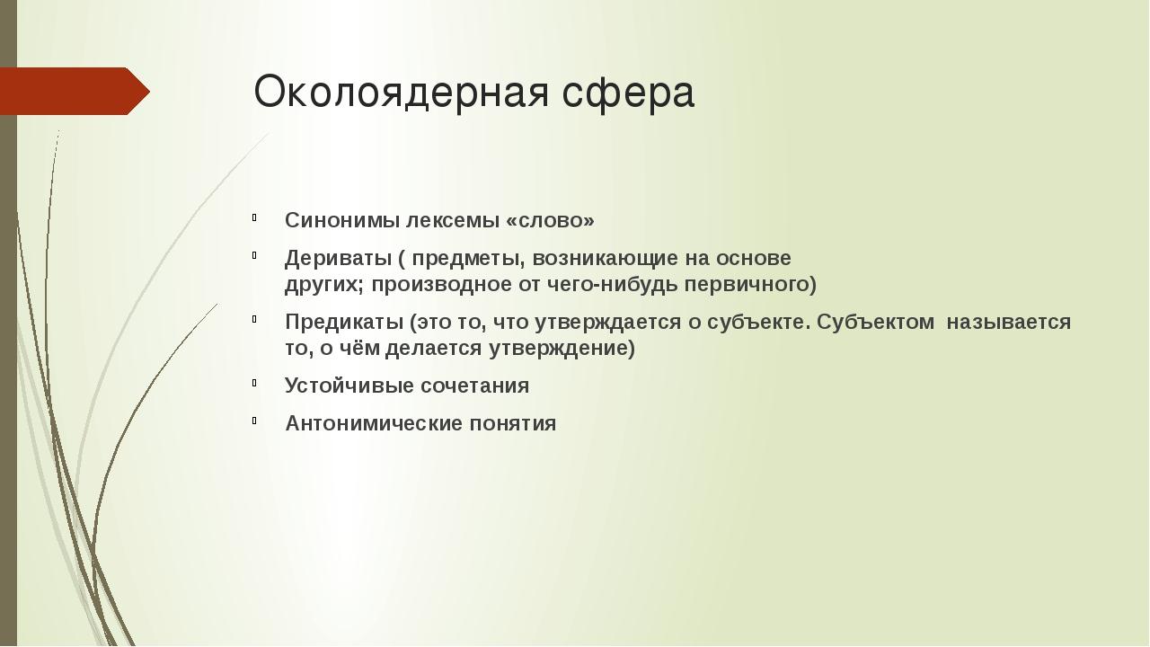 Околоядерная сфера Синонимы лексемы «слово» Дериваты (предметы,возникающие...