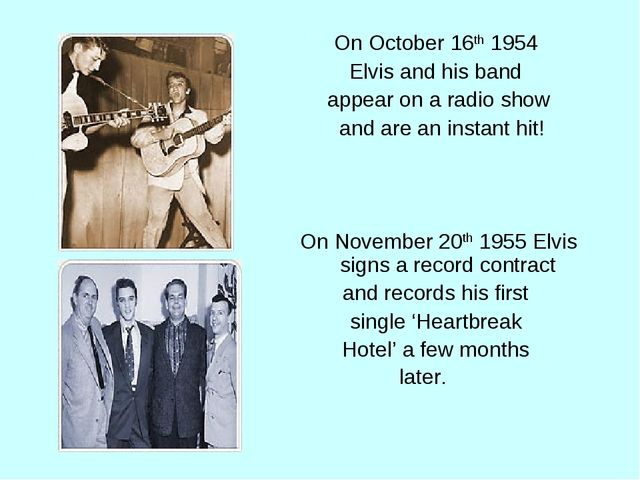 On October 16th 1954 Elvis and his band appear on a radio show and are an ins...