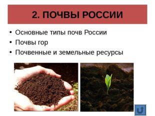 2. ПОЧВЫ РОССИИ Основные типы почв России Почвы гор Почвенные и земельные рес