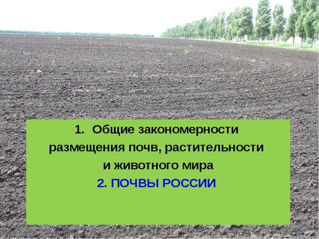 Общие закономерности размещения почв, растительности и животного мира 2. ПОЧВ...