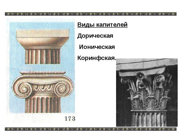 Виды капителей Дорическая Ионическая Коринфская.