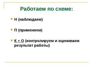 Работаем по схеме: Н (наблюдаем) П (применяем) К + О (контролируем и оценивае
