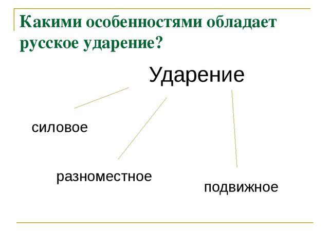Какими особенностями обладает русское ударение? Ударение силовое разноместное...