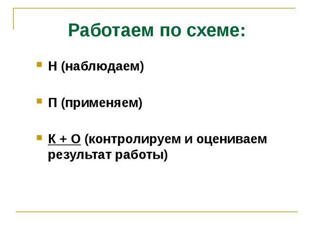Работаем по схеме: Н (наблюдаем) П (применяем) К + О (контролируем и оценивае...
