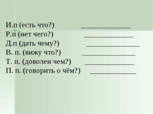 И.п (есть что?) _____________ Р.п (нет чего?) _____________ Д.п (дать чему?)