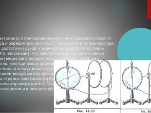 Возьмем электрометр с присоединенными к нему дисками плоского конденсатора и