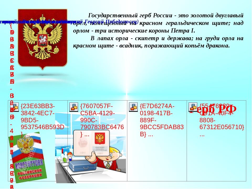 Государственный герб России - это золотой двуглавый орёл, помещённый на крас...