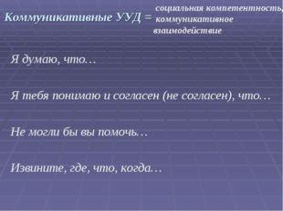 Коммуникативные УУД = Я думаю, что… Я тебя понимаю и согласен (не согласен),