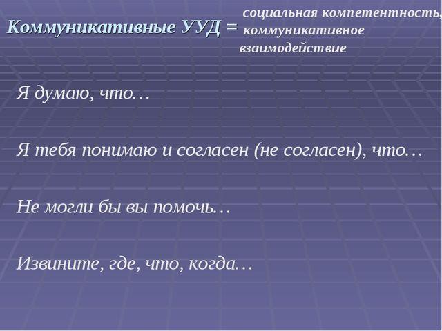 Коммуникативные УУД = Я думаю, что… Я тебя понимаю и согласен (не согласен),...