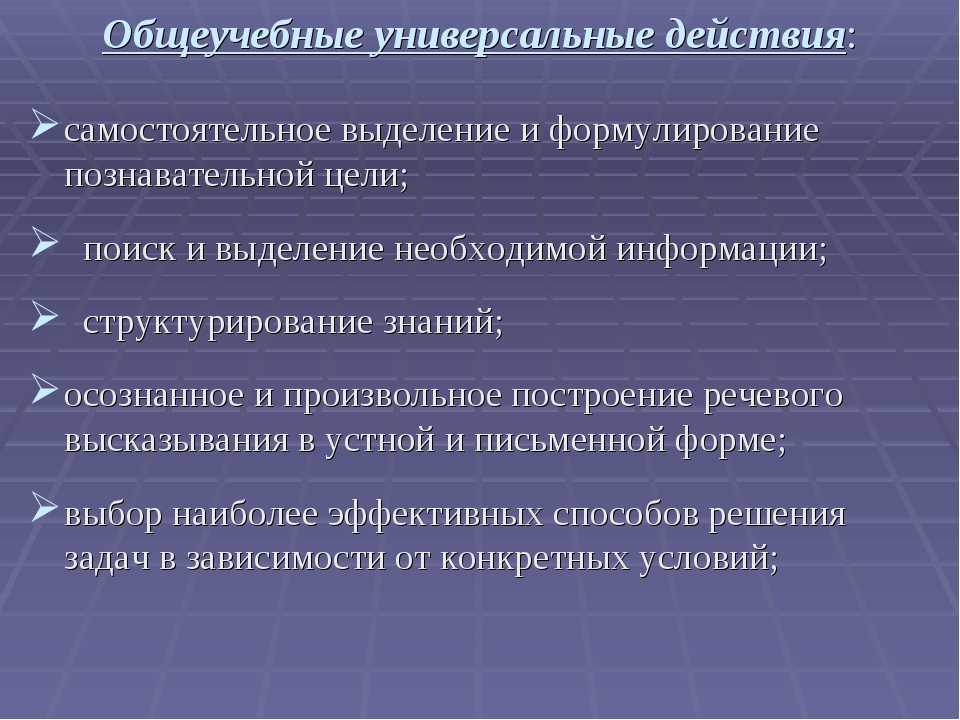 Общеучебные универсальные действия: самостоятельное выделение и формулировани...