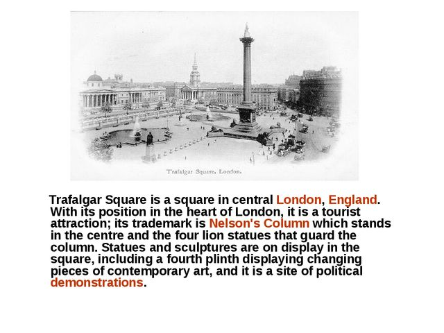 Trafalgar Square is a square in central London, England. With its position i...