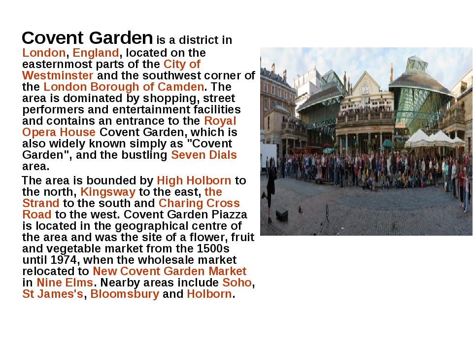 Covent Garden is a district in London, England, located on the easternmost p...