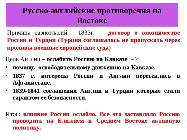 Русско-английские противоречия на Востоке Цель Англии – ослабить Россию на Ка...