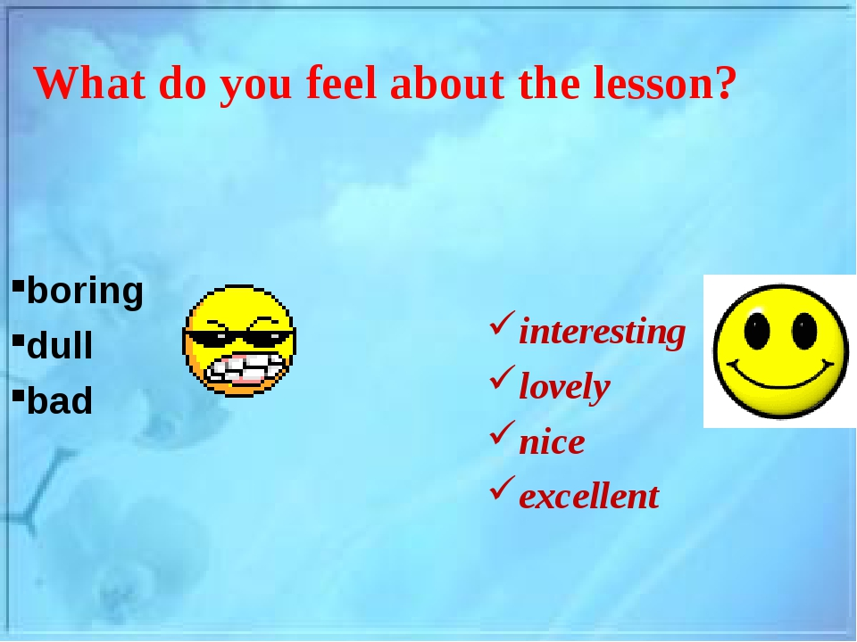 What do you feel about the lesson? boring dull bad interesting lovely nice ex...