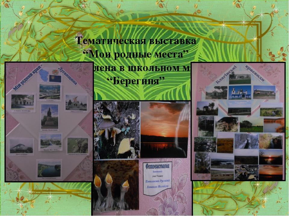 """Тематическая выставка """"Мои родные места"""" оформлена в школьном музее """"Берегиня"""""""