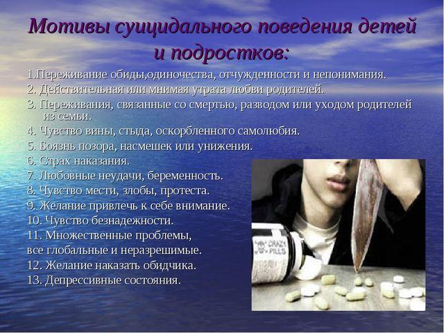 Мотивы суицидального поведения детей и подростков: 1.Переживание обиды,одиноч...