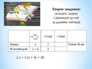 Творче завдання: складіть задачу і рівняння до неї за даними таблиці: 2 х + 3