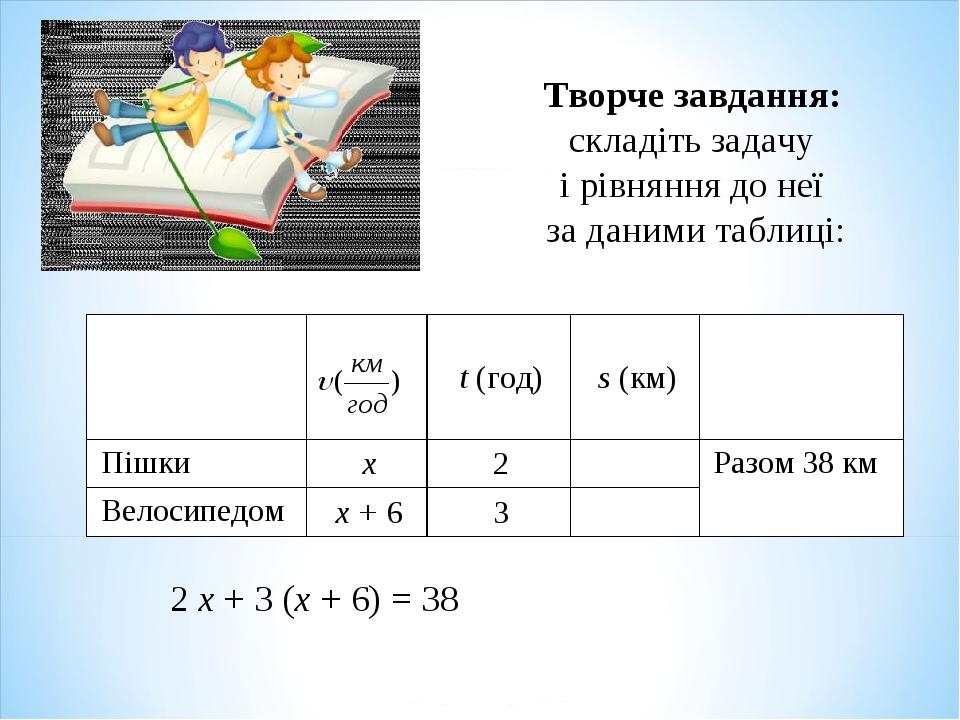 Творче завдання: складіть задачу і рівняння до неї за даними таблиці: 2 х + 3...